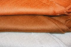 Brown and white pashmina shawls Royalty Free Stock Images
