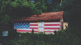 Brown White Red and Blue Wooden U.s.a Flag Themed House in Middle of Forest Royalty Free Stock Images
