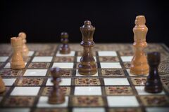 Brown White and Red Chess Board Stock Image