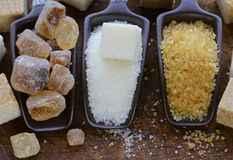 Brown, white and refined sugar Stock Photography