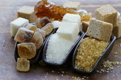 Brown, white and refined sugar Royalty Free Stock Photo