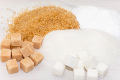 Brown, white and refined sugar Royalty Free Stock Photography