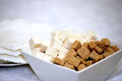 Brown and white refined sugar in square bowl with napkins Stock Images