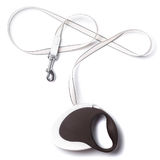 Brown and white retractable leash for dog  on white background from the side from above Stock Image
