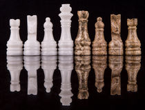 Brown And White Stone Made Chess Set V Stock Image