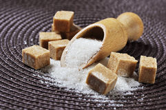 Brown and white sugar Stock Images