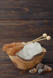Brown and white sugar Stock Photos