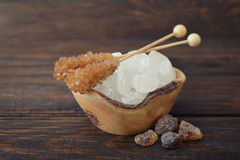 Brown and white sugar Royalty Free Stock Photos