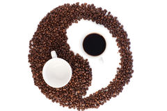 Brown and white symbol made of coffee beans Royalty Free Stock Image