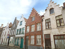 Brown and white tone vintage bricked buildings in Bruges Stock Photography