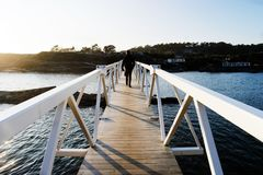 Brown And White Wooden Bridge royalty free stock photography