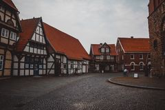 Brown and White Wooden Houses Stock Photography