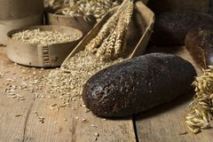 Brown whole grain loaves composition on rustic wood. Bread background. Brown whole grain loaves composition on rustic wood with wheat ears scattered around Stock Image
