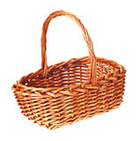 Brown wicker basket isolated Royalty Free Stock Photography