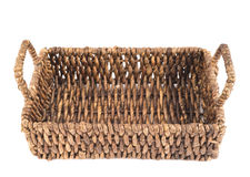 Brown wicker basket isolated Royalty Free Stock Photo