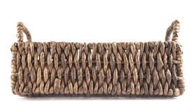 Brown wicker basket isolated Stock Images