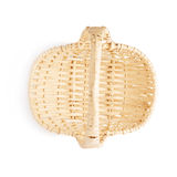 Brown wicker basket isolated over the white background Stock Photos
