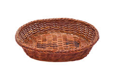Brown wicker basket. Isolated on white background Royalty Free Stock Images