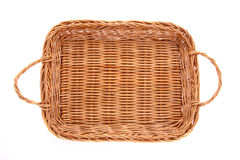 Brown wicker basket, top view. Brown wicker basket isolated on white background, top view Stock Photos