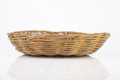 Brown wicker basket on white background Stock Image