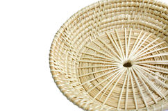 Brown wicker  basket on white background . Royalty Free Stock Photos