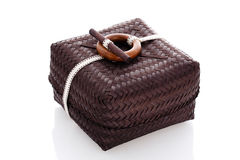 Brown wicker box Stock Images