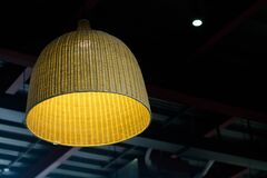 Brown Wicker Ceiling Lamp Stock Photography