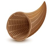 Brown wicker empty cornucopia basket. Isolated on white vector illustration Stock Photo