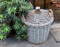 Brown Wicker Weave Container Made From Rattan Royalty Free Stock Photos