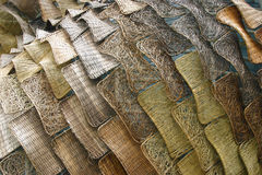 Brown wicker wood panels. With different patterns Stock Photography
