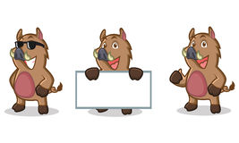 Brown Wild Pig Mascot happy Royalty Free Stock Photography