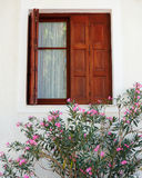 Brown window, pink oleander Stock Images