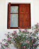 Brown window, pink oleander. In a Greek island Stock Images