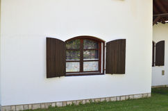 Brown Window on White Wall Stock Photography