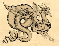 Brown winged dragon in asia style with a long tail. Draw by hand, on a craft paper vector illustration