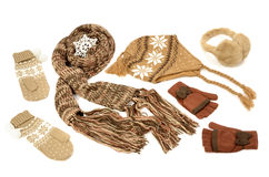 Brown winter accessories isolated on white background. Stock Photos