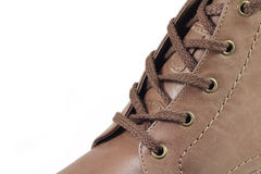 Brown winter boots with laces Stock Photo