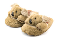 Brown winter slippers Royalty Free Stock Images