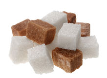 Brown and wite sugar cube Royalty Free Stock Photo