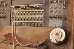 Brown woden la linea di accesso al centralino privato centrale del telefono Fotografia Stock
