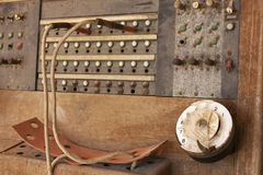 Brown woden telephone central PBX Stock Photography