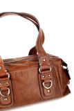 Brown woman bag on white background Royalty Free Stock Image