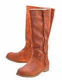 Brown woman boots isolated on white Royalty Free Stock Photos