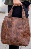 Brown woman handbag Stock Images