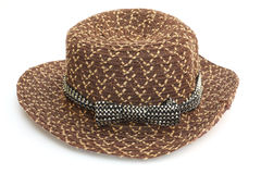 Brown women hat with black and white ribbon Stock Photography