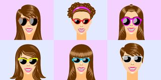 Brown women heads with sunglasses Stock Image