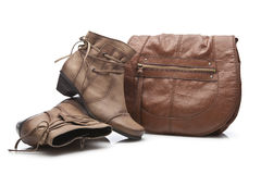 Natural Leather Handbag and shoes Royalty Free Stock Images