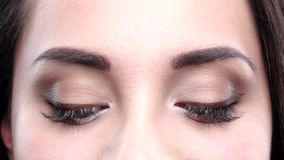 Brown women's eyes blink. Close up. Brown women's eyes blink, women face, blink, studio, color and brow, natural, close up stock video footage