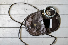 Brown women's purse. Things from open lady handbag Stock Images
