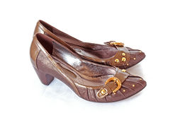 Brown women shoes isolated Royalty Free Stock Images